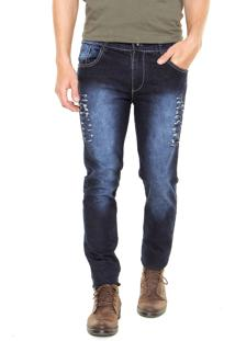 Calça Jeans Slim Storm Recortes Azul