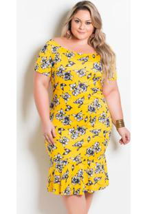 Vestido Ombro A Ombro Plus Size Floral Amarelo