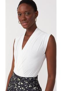 Body Amaro Jersey Detalhe Franzido Essential Off-White - Branco - Feminino - Dafiti