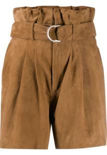 P.A.R.O.S.H. Suede Paperbag Waist Shorts - Marrom