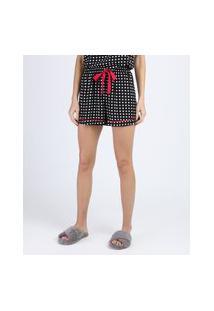 Short De Pijama Estampado De Poá Com Vivo Contrastante E Amarração Preto
