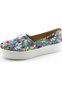 Tênis Flatform Quality Shoes Feminino 003 Jeans Floral 214 35