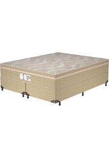 Cama Box King Evolution - Probel - Branco / Palha / Dourado