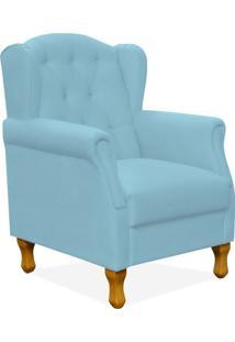 Poltrona Decorativa Para Sala De Estar Yara Corino Azul - Lyam Decor