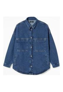 Jaqueta Leve Em Jeans Com Bolsos Frontais E Costuras Contrastantes | Marfinno | Azul | Gg
