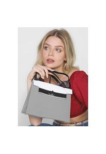 Bolsa Petite Jolie Colors Cinza/Branca