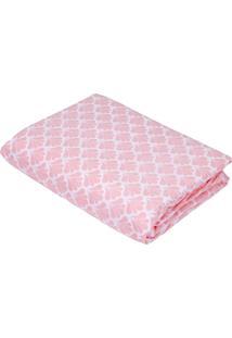 Lençol Solteiro Teka Diamante Concha Rosa Com Elástico 150 Fios