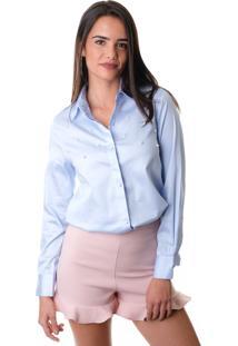 Camisa Esmeral Alfaiataria Pérola Azul