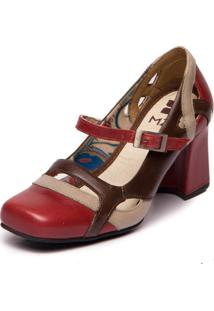 Sapato Mzq Em Couro - Amora/Pistache/Chocolate -5951