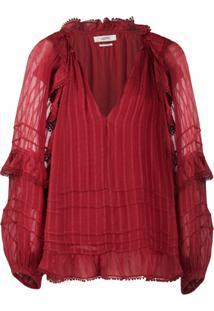 Isabel Marant Étoile Blusa Listrada - Vermelho