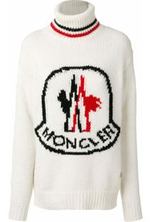 Moncler Gamme Rouge Suéter Gola Alta Com Logo - Branco