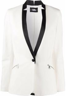 Karl Lagerfeld Blazer Com Lapelas Contrastantes - Branco