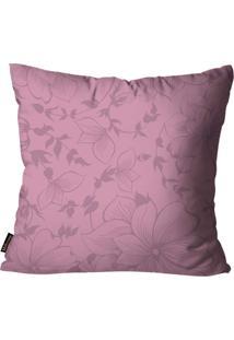 Capa Para Almofada Premium Cetim Mdecore Floral Roxa 45X45Cm