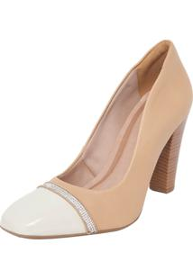 Scarpin Crysalis Bico Quadrado Base Nude/ Off-White