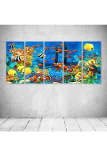 Quadro Decorativo - Shipwreck Sea Seabed Fish Corals - Composto De 5 Quadros