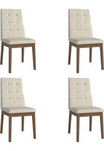 Conjunto Com 4 Cadeiras De Jantar Joy Bege
