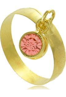 Anel Com Pingente Rosa Em Zircônia 3Rs Semijoias Dourado