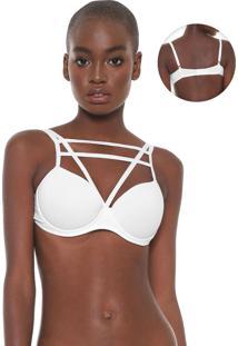 Sutiã Calvin Klein Underwear Meia-Taça Strappys Branco