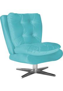 Poltrona Decorativa Tolucci Suede Azul Tiffany Com Base Giratória Em Aço Cromado - D'Rossi