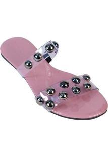 Rasteirinha Mercedita Shoes Bolas Cristal Macia Conforto Verão Feminina - Feminino-Rosa