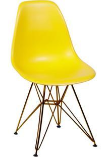 Cadeira Eames Eiffel Com Base Metal Amarela