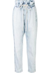 Bassike Calça Jeans Cropped Cintura Alta Com Babados - Azul