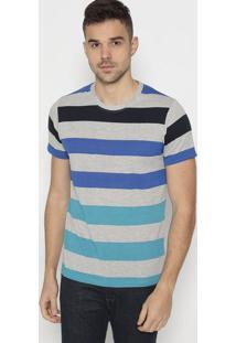 Camiseta Listrada- Cinza & Azulclub Polo Collection