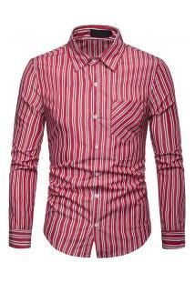 Camisa Masculina Com Listras Verticais Finas Manga Longa - Vermelho