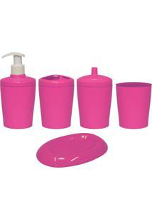 Kit Para Banheiro Ravi 5 Peças Rosa
