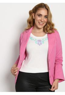 Blazer Com Recortes- Rosa- Cotton Colorscotton Colors Extra