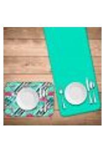 Jogo Americano Com Caminho De Mesa Wevans Flamingos Geométricos Kit Com 2 Pçs + 2 Trilhos