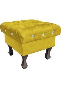 Puff Decorativo Madri Capitonê Suede Amarelo Com Strass - D'Rossi
