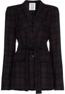 Rosie Assoulin Blazer De Lã Com Padronagem E Cinto - Vermelho