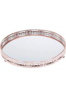 Bandeja Bronze Em Metal Com Espelho 25 Cm - Cajamar - Incolor - Dafiti