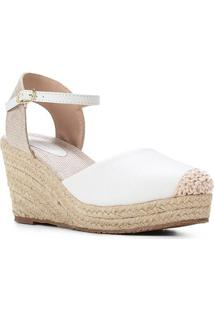 Sandália Couro Shoestock Anabela Corda Feminina - Feminino-Branco