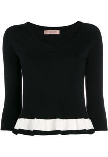 Twin-Set Suéter Com Listras Contrastantes - Preto