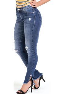 Calça Cigarrete Jeans Sawary Com Fenda E Pérolas