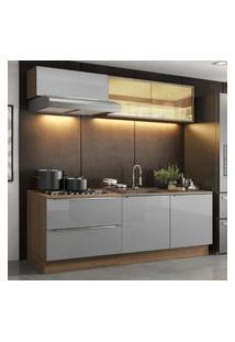 Cozinha Completa Madesa Lux Com Armário E Balcáo 5 Portas 2 Gavetas - Rustic Cinza