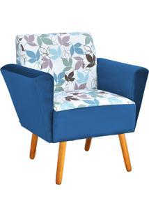 Poltrona Decorativa Dora Estampado Folhas D68 Com Peach Azul Marinho - D'Rossi