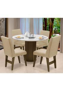Conjunto De Mesa Para Sala De Jantar Com 4 Cadeira Turim-Dobue - Castanho / Branco Off / Bege Vlp Bordado