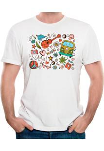 Camiseta Hippie Doodle Geek10 - Branco
