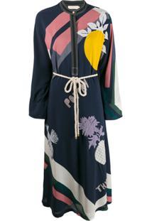 Tory Burch Embroidered Kimono Dress - Azul