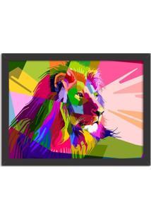 Quadro Decorativo Leão Geométrico Colorido Preto - Grande