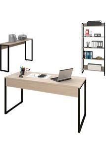 Conjunto Escritório Mesa 150 Aparador E Estante Studio Industrial M18