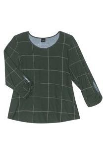 Blusa Feminina Plus Size Xadrez Rovitex Plus Verde