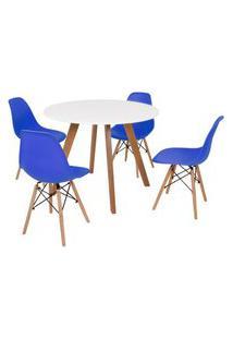 Mesa Inês 100Cm Branca + 4 Cadeiras Eames Eiffel - Azul
