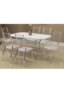 Mesa 1507 Branca Cromada Com 6 Cadeiras 1710 Retrô Metalizado Carraro