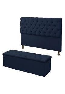 Cabeceira Mais Calçadeira Baú Casal Queen 160Cm Para Cama Box Sofia Suede Azul Marinho - Ds Móveis