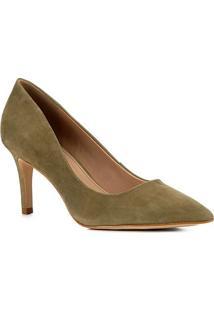 Scarpin Shoestock Nobuck Salto Médio Bico Fino - Feminino-Verde