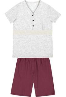 Pijama Feminino Em Malha De Algodão Com Abertura Frontal E Detalhe Em Renda